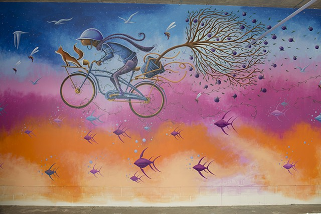 Mural for Tri-Met Bike&Ride at Orenco Max Station,Hillsboro,Or.