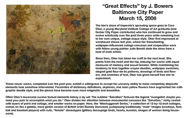 "Baltimore Citypaper ""Great Effects"" (excerpt) by J. Bowers. May 2006"