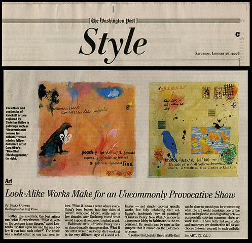 "Washington Post: ""Look Alike Works Make for an Uncommonly Provocative Show"" by Blake Gopnik. 1.26.2008."