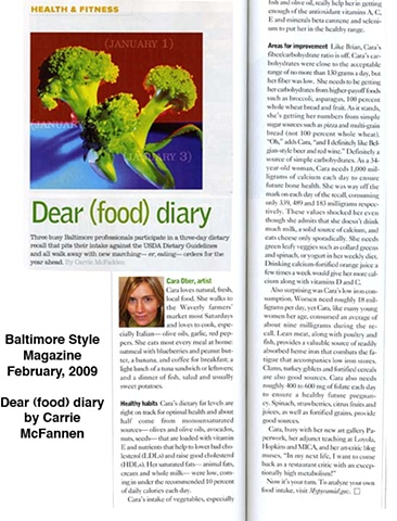 'Dear Food Diary' by Carrie McFadden. Style Magazine. January, '09.