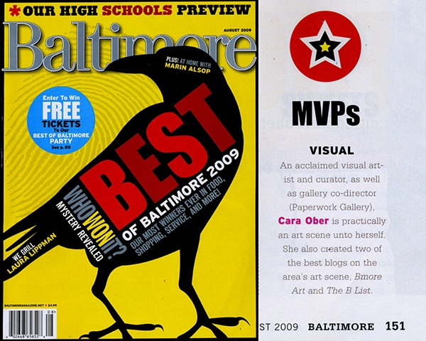 "Baltimore Magazine ""Best Of"" 2009 - Visual Arts"