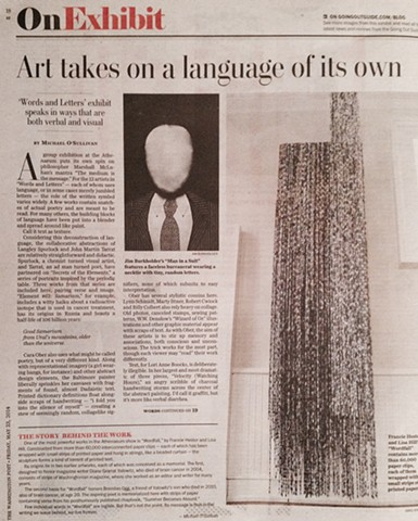 'On Exhibit: Art takes on a language of its own' by Michael O'Sullivan Washington Post May 23, 2014