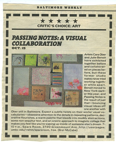 'Passing Notes' by Bret McCabe. Baltimore Citypaper. October, 2005.