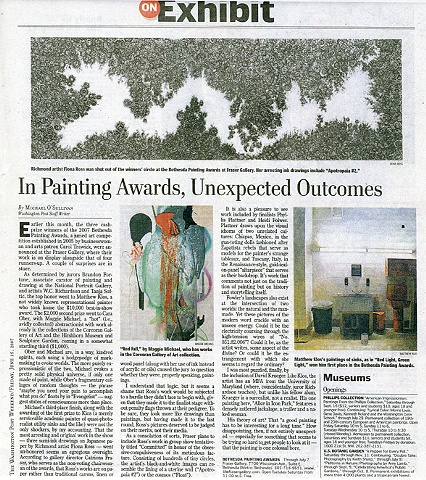 "Washington Post: ""In Painting Awards, Unexpected Outcomes"" by Michael O'Sullivan. 6.15.2007."