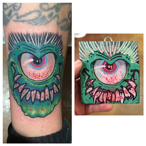 monster tattoo, eyeball tattoo, Provincetown tattoo, Cape Cod tattoo, Ptown tattoo, truro, wellfleet, custom tattoo, coastline tattoo