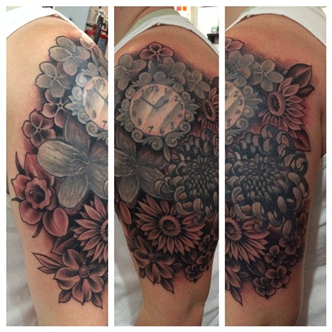 flowers, black and gray tattoo, floral tattoo, Provincetown tattoo, Cape Cod tattoo, Ptown tattoo, truro, wellfleet, custom tattoo, coastline tattoo