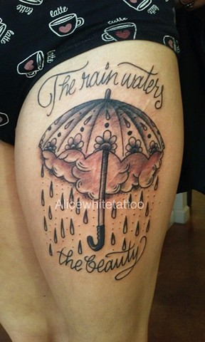 umbrella tattoo, rainy day tattoo, lettering tattoo, Provincetown tattoo, Cape Cod tattoo, Ptown tattoo, truro, wellfleet, custom tattoo, coastline tattoo