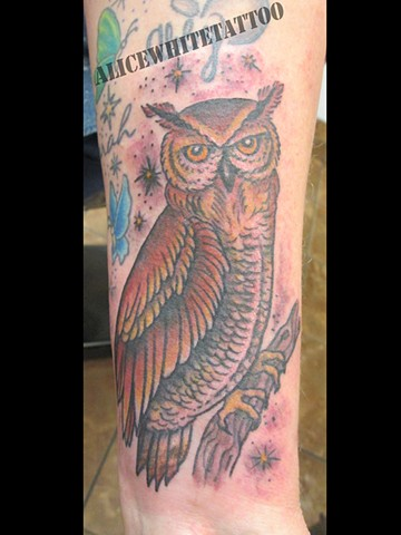 Alice White - Brown Owl Tattoo, Provincetown tattoo, Cape Cod tattoo, Ptown tattoo, truro tattoo, wellfleet tattoo, custom tattoo, coastline tattoo