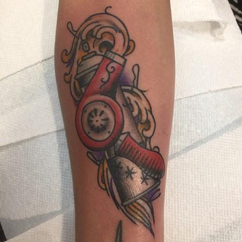 Hair Stylist tattoo, hair dryer tattoo, hair spray tattoo, Provincetown tattoo, Cape Cod tattoo, Ptown tattoo, truro, wellfleet, custom tattoo, coastline tattoo