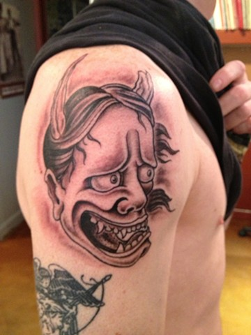 hanya mask, black and gray, Provincetown tattoo, Cape Cod tattoo, Ptown tattoo, truro tattoo, wellfleet tattoo, custom tattoo, coastline tattoo