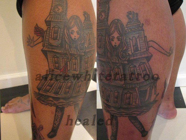 Alice White - Doll house girl, custom tattoo, Provincetown tattoo, Cape Cod tattoo, Coastline tattoo, Ptown tattoo