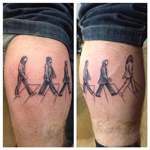Beatles tattoo, abbey road tattoo, Provincetown tattoo, Cape Cod tattoo, Ptown tattoo, truro, wellfleet, custom tattoo, coastline tattoo