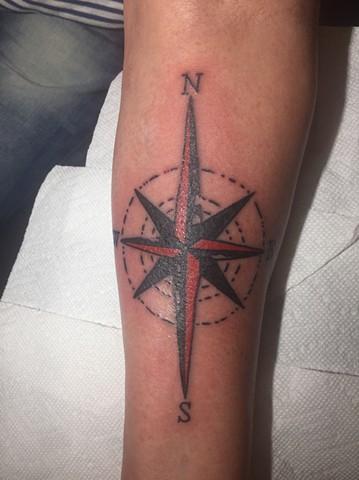 compass tattoo, traditional tattoo, Provincetown tattoo, Cape Cod tattoo, Ptown tattoo, truro, wellfleet, custom tattoo, coastline tattoo