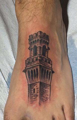 Pilgrim Monument tattoo, black and gray tattoo, Provincetown tattoo, Cape Cod tattoo, Ptown tattoo, truro, wellfleet, custom tattoo, coastline tattoo