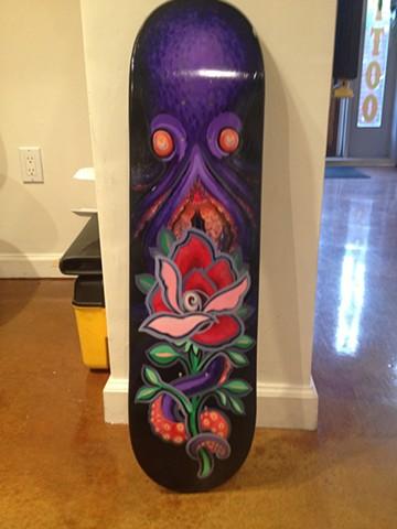 octopus rose, acrylic on skate deck, skateboard art, painting, Provincetown, Cape Cod, Coastline, Ptown