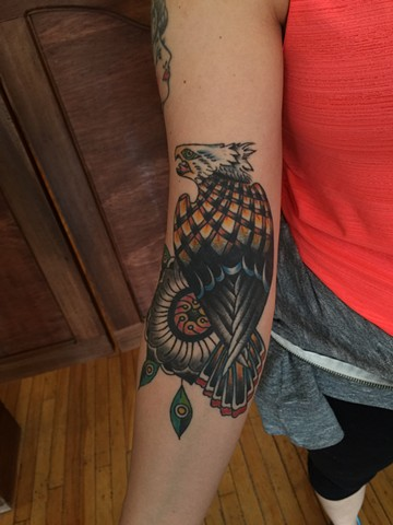 eagle tattoo, traditional tattoo, flower tattoo, Provincetown tattoo, Cape Cod tattoo, Ptown tattoo, truro, wellfleet, custom tattoo, coastline tattoo