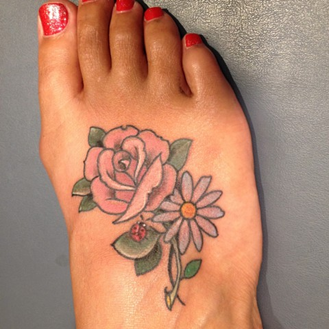 rose tattoo, daisy tattoo, ladybug tattoo, foot tattoo, Provincetown tattoo, Cape Cod tattoo, Ptown tattoo, truro, wellfleet, custom tattoo, coastline tattoo
