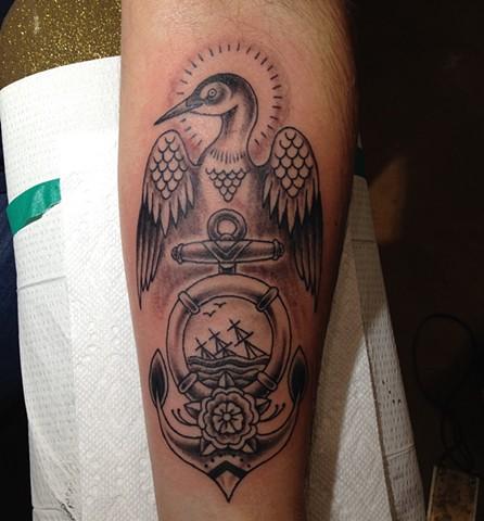 Black and Gray tattoo, loon tattoo, anchor tattoo, nautical tattoo, Provincetown tattoo, Cape Cod tattoo, Ptown tattoo, truro, wellfleet, custom tattoo, coastline tattoo