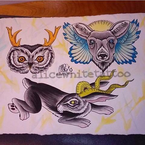 Animal Paintings, watercolor, flash, Provincetown tattoo, Cape Cod tattoo, Ptown tattoo, truro, wellfleet, custom tattoo, coastline tattoo