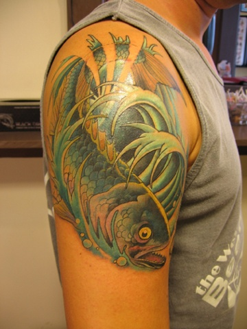 fish tattoo, Provincetown tattoo, Cape Cod tattoo, Ptown tattoo, truro, wellfleet, custom tattoo, coastline tattoo