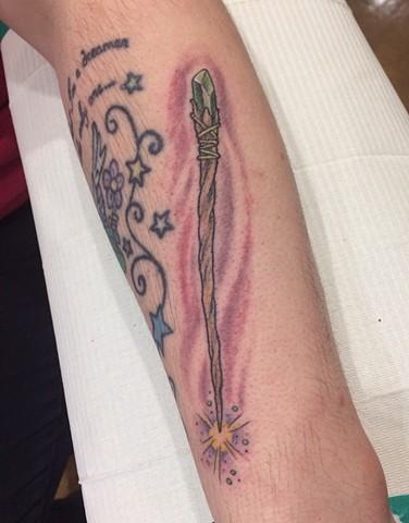 bibbidi-bobbidi-boo, magic wand tattoo,  Provincetown tattoo, Cape Cod tattoo, Ptown tattoo, truro, wellfleet, custom tattoo, coastline tattoo