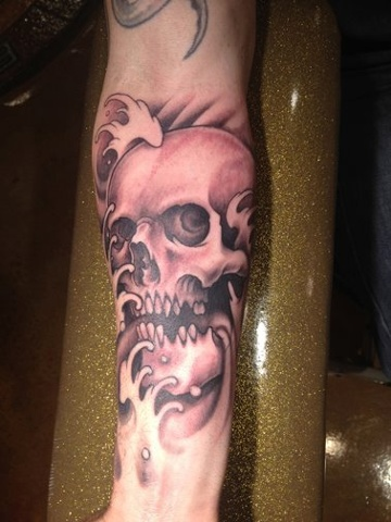 skull water, waves, black and grey,  custom tattoo, Provincetown, Cape Cod, Coastline, Ptown