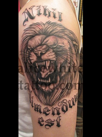 Alice White - Black and Grey Lion and Lettering tattoo, Provincetown tattoo, Cape Cod tattoo, Ptown tattoo, truro tattoo, wellfleet tattoo, custom tattoo, coastline tattoo
