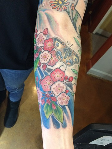 cherry blossom tattoo, flower blossom, Provincetown tattoo, Cape Cod tattoo, Ptown tattoo, truro, wellfleet, custom tattoo, coastline tattoo