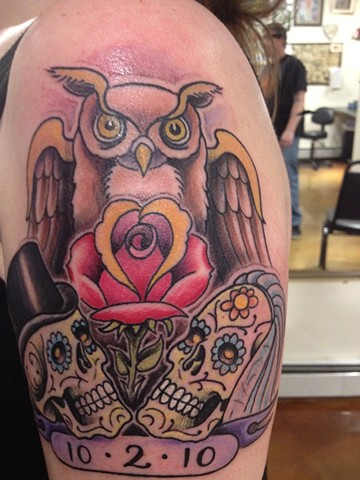 bride and groom sugar skulls owl rose,  Provincetown tattoo, Cape Cod tattoo, Ptown tattoo, truro tattoo, wellfleet tattoo, custom tattoo, coastline tattoo