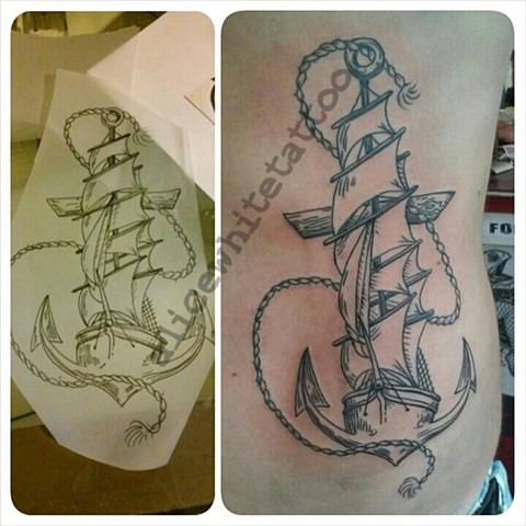 Anchor Ship Tattoo, Provincetown tattoo, Cape Cod tattoo, Ptown tattoo, truro tattoo, wellfleet tattoo, custom tattoo, coastline tattoo