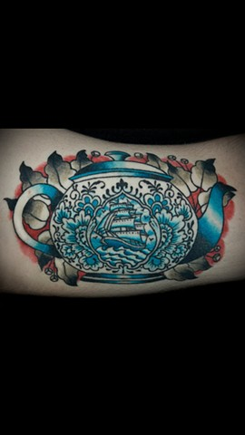 Cindy Vega - tea pot w/ship tattoo, Provincetown tattoo, Cape Cod tattoo, Ptown tattoo, truro tattoo, wellfleet tattoo, custom tattoo, coastline tattoo
