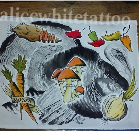Turkey, vegetables, water color painting, art, Provincetown tattoo, Cape Cod tattoo, Ptown tattoo, truro, wellfleet, custom tattoo, coastline tattoo