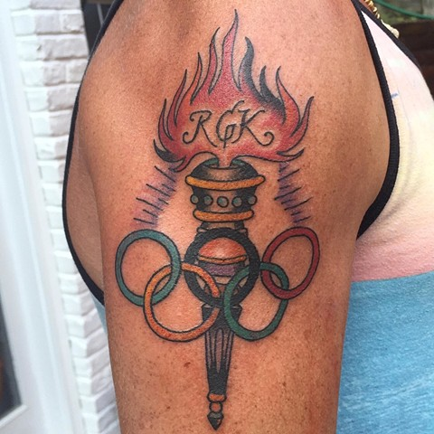 olympic tattoo, torch tattoo, traditional tattoo, tattoo, Provincetown tattoo, Cape Cod tattoo, Ptown tattoo, truro, wellfleet, custom tattoo, coastline tattoo