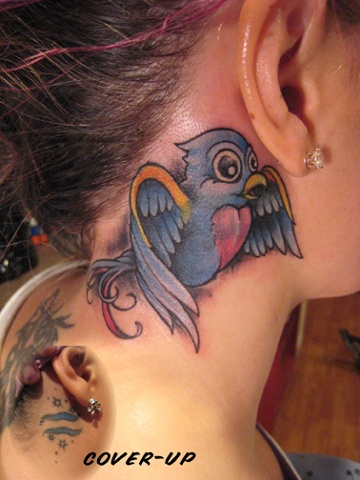 bluebird, astrological symbol cover up, custom tattoo, Provincetown, Cape Cod, Coastline, Ptown