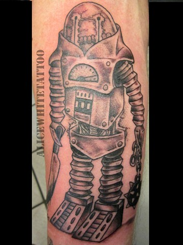 Alice White - Robot Steve, black and grey tattoo, Provincetown tattoo, Cape Cod tattoo, Ptown tattoo, truro tattoo, wellfleet tattoo, custom tattoo, coastline tattoo