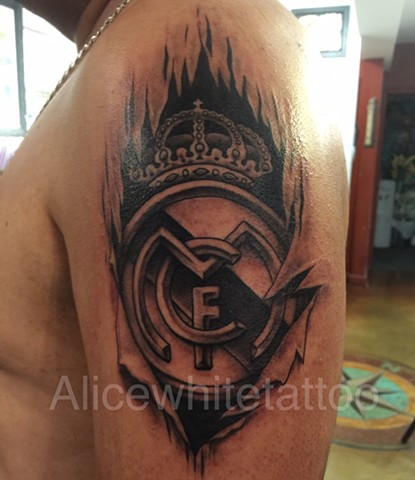 Real Madrid Skin Rip Tattoo, Provincetown tattoo, Cape Cod tattoo, Ptown tattoo, truro tattoo, wellfleet tattoo, custom tattoo, coastline tattoo