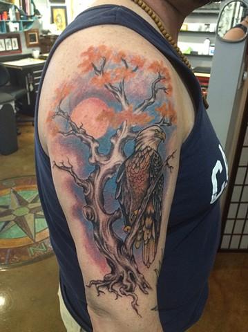 bald eagle tattoo, tree tattoo, Provincetown tattoo, Cape Cod tattoo, Ptown tattoo, truro, wellfleet, custom tattoo, coastline tattoo