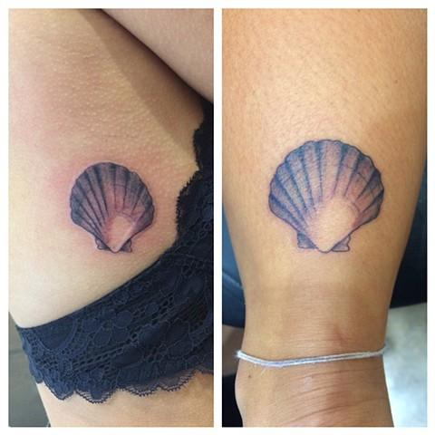 scallop shell tattoo, nautical tattoo, Provincetown tattoo, Cape Cod tattoo, Ptown tattoo, truro, wellfleet, custom tattoo, coastline tattoo