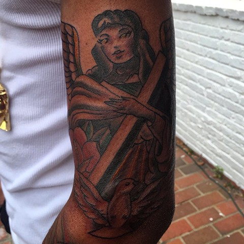 Angel tattoo, dove tattoo, religious tattoo, traditional tattoo, tattoo, Provincetown tattoo, Cape Cod tattoo, Ptown tattoo, truro, wellfleet, custom tattoo, coastline tattoo