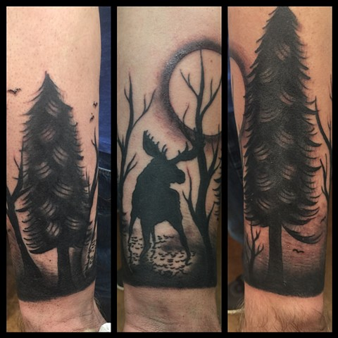 tree tattoo, moose tattoo, silhouette tattoo, forest tattoo, Provincetown tattoo, Cape Cod tattoo, Ptown tattoo, truro, wellfleet, custom tattoo, coastline tattoo