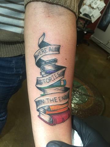 book tattoo, reading rainbow tattoo, Provincetown tattoo, Cape Cod tattoo, Ptown tattoo, truro, wellfleet, custom tattoo, coastline tattoo