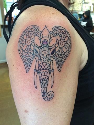 Ganesh tattoo, Provincetown tattoo, Cape Cod tattoo, Ptown tattoo, truro, wellfleet, custom tattoo, coastline tattoo