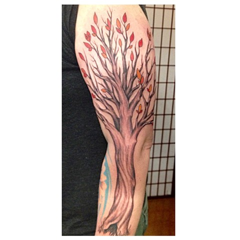 Tree, Provincetown tattoo, Cape Cod tattoo, Ptown tattoo, truro tattoo, wellfleet tattoo, custom tattoo, coastline tattoo