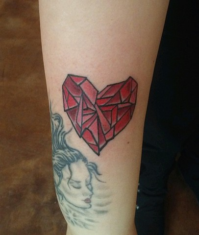 heart tattoo, stained glass tattoo, Provincetown tattoo, Cape Cod tattoo, Ptown tattoo, truro, wellfleet, custom tattoo, coastline tattoo