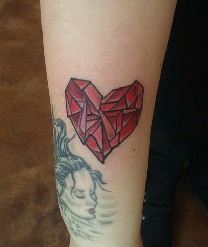 heart tattoo, stained glass tattoo, Provincetown tattoo, Cape Cod tattoo, Ptown tattoo, truro, wellfleet, custom tattoo, coastline tattoo