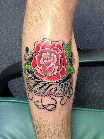 Daniel Emery Jr. - rose and script tattoo, Provincetown tattoo, Cape Cod tattoo, Ptown tattoo, truro tattoo, wellfleet tattoo, custom tattoo, coastline tattoo