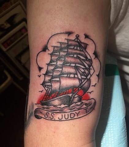 clipper ship tattoo, ship tattoo, nautical tattoo, Provincetown tattoo, Cape Cod tattoo, Ptown tattoo, truro, wellfleet, custom tattoo, coastline tattoo