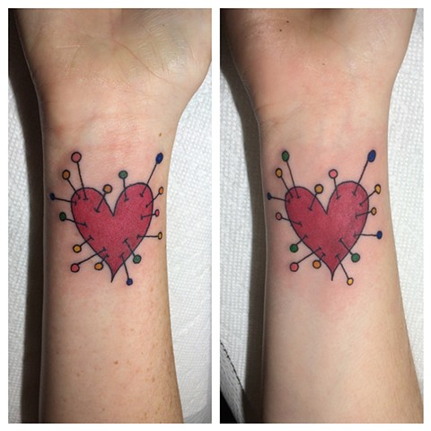 heart tattoo, pin cushion tattoo, Provincetown tattoo, Cape Cod tattoo, Ptown tattoo, truro, wellfleet, custom tattoo, coastline tattoo