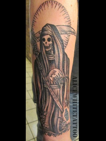 Alice White - Santa Muerte, black and grey tattoo, Provincetown tattoo, Cape Cod tattoo, Ptown tattoo, truro tattoo, wellfleet tattoo, custom tattoo, coastline tattoo