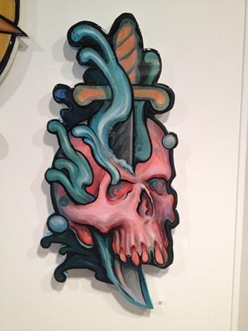 skull dagger, acrylic on wood, cutout, 2' high, art, painting, Provincetown, Cape Cod, Coastline, Ptown